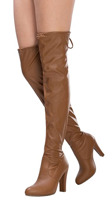 40e78837a Amazon.com   OLIVIA K Women's Sexy Faux Suede Loop Lace Closure Over The Knee  Thigh High Almond Toe Chucky High Heel Boots   Boots