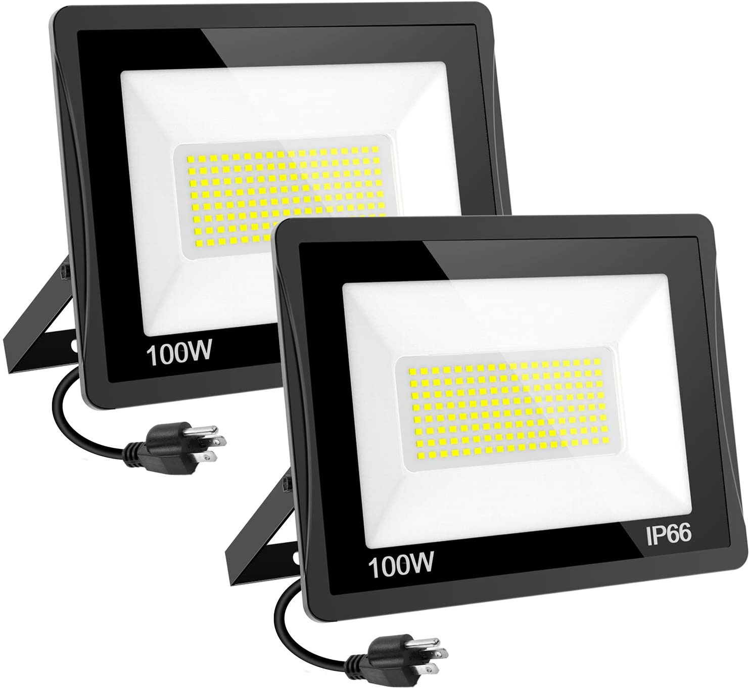 100W LED Flood Light, T-SUNUS Super Bright Security Lights, IP65 Waterproof 10000LM Work Light with Plug, 6000K Daylight White Outdoor Floodlights for Garden, Playground, Basketball Court 2 Pack