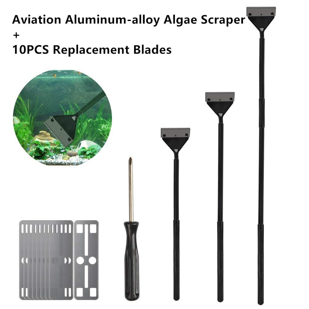 BUYGOO Rastrillo de Tanque de Peces Aviación de Aleación de Aluminio 3 Varillas Longitud Ajustable 65 cm/ 50 cm/ 35 cm+ 10 Hojas Respuestas