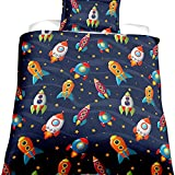 EsyDream Space Rocket Cotton Boys Bedding Duvet Cover Queen 2/3 Pieces,Planet Spaceship Star Full Girls Bedding Sets Spacecraft Bedlinen NO Comforter(US Quee Size Color 1)