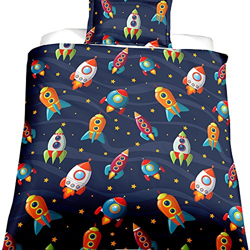 EsyDream Space Rocket Cotton Boys Bedding Duvet Cover Queen 2/3 Pieces,Planet Spaceship Star Full Girls Bedding Sets Spacecraft Bedlinen NO Comforter(US Twin Size Color 1)