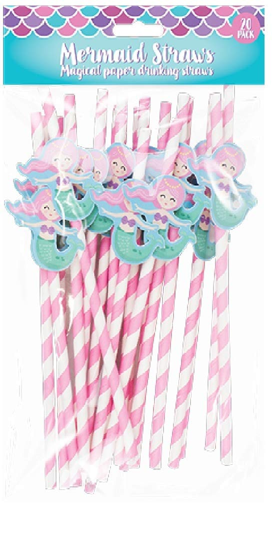 Girls Mermaid Kids Birthday Party Novelty Paper Straws 20 Pack