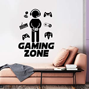 Gamer Wall Decals, Gaming Zone Wall Stickers, Video Game Boy with Controller Removable Vinyl Art Design Joystick Murals Quotes Decor for Net Bar Home Boys Room Playroom Bedroom Reusable DIY Decoration