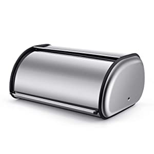 Flexzion Stainless Steel Bread Box Holder (17 inch) Metal Roll Up Top Lid Bread Container Storage Bin Keeper for Homemade Cake Buns Loaves Pastries Pancakes Cookies, Ideal for Restaurants Home Kitchen