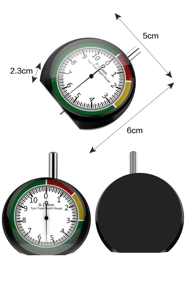 Misuratore di profondit/à per Pneumatici in Metallo analogico Moto CESHUMD 0-11 mm//0-0,43 Camion Bicicletta per Auto