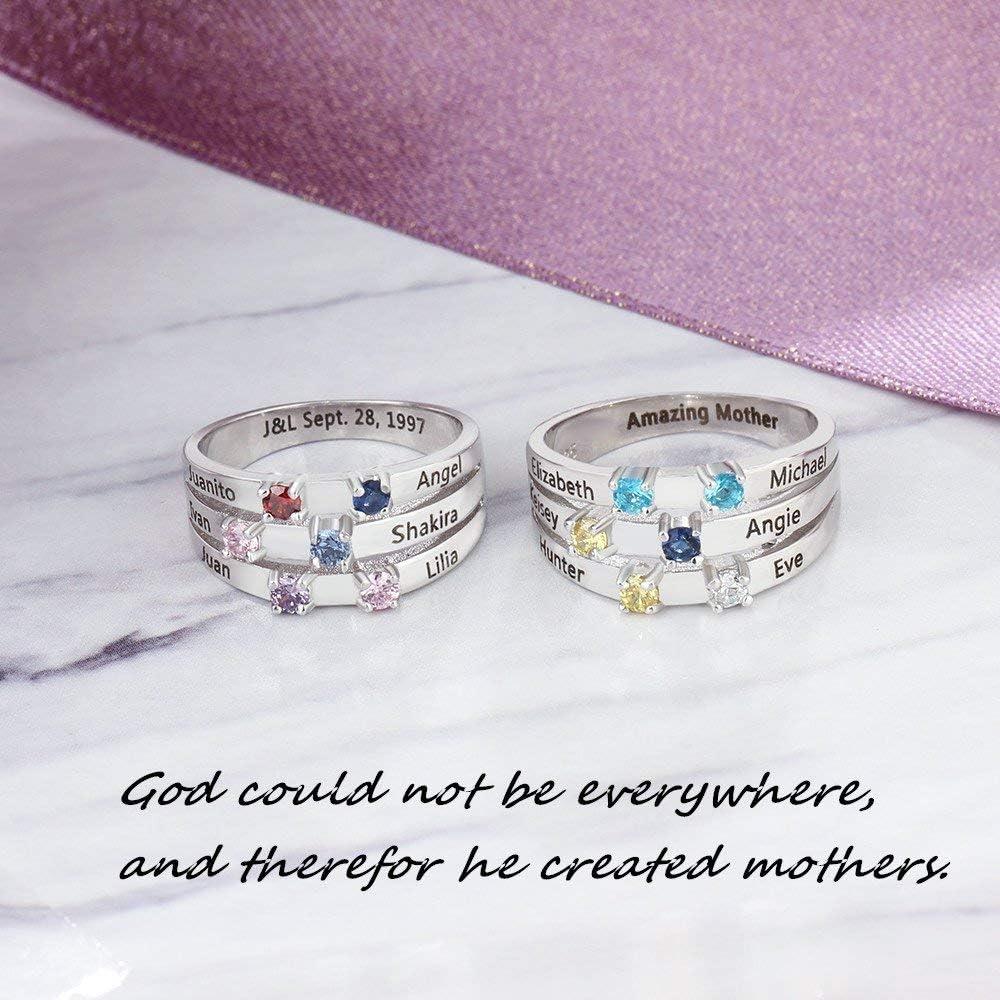 Grand Made Nombre Personalizado Anillo de la Madre con Plata esterlina 925 6 Birthstone simulado 6 Nombre Amor Familiar Mujer del Anillo