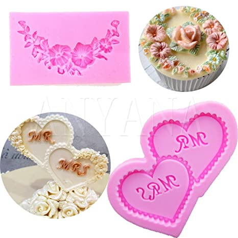 Anyana 2 pcs flor corazones forma 3d de silicona Fondant molde pastel Chocolate molde Herramientas para