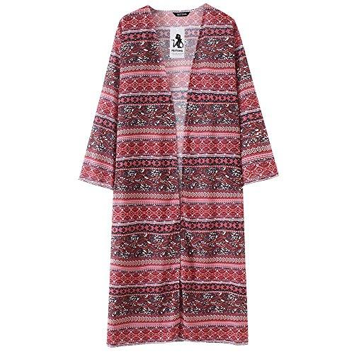 - HIRIRI Pattern Print Women Pullover Chiffon Loose Shawl Blouse Multicolor Shirt Robe Kimono Ladies Onesies