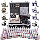 AW Complete Tattoo Kit 54 Color Ink 8 Machine Guns Set LCD Power Supply Foot Switch Equipment