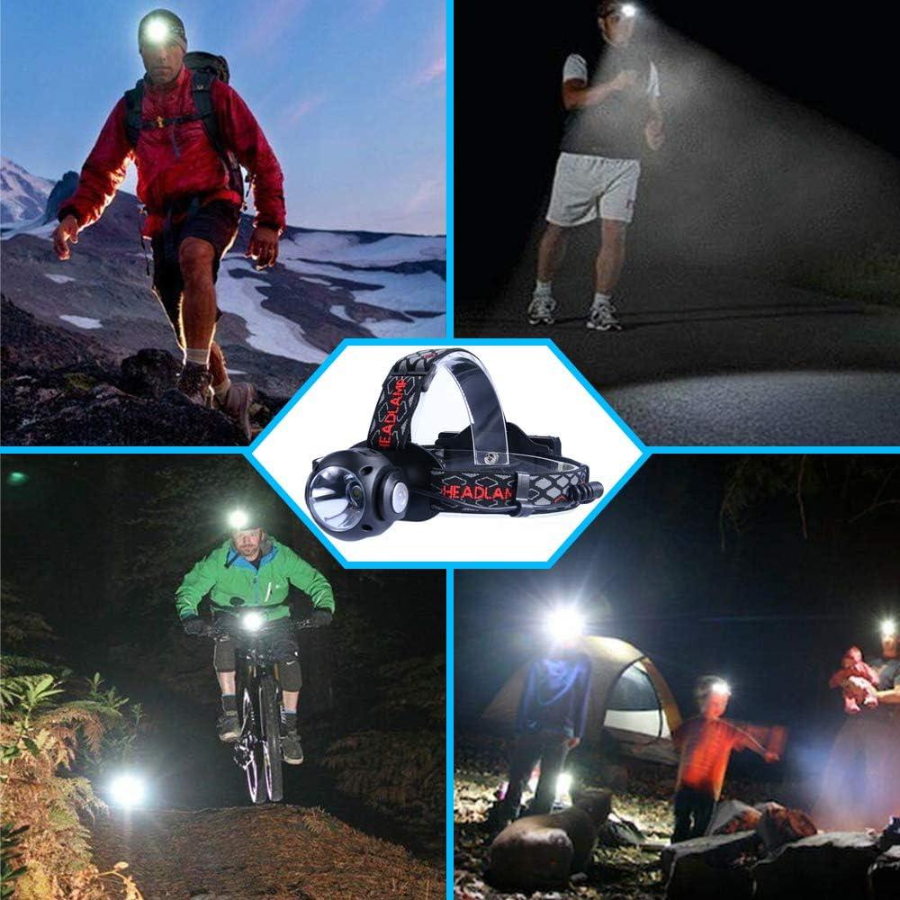 f/ürs Laufen Betuy LED Stirnlampe Kopflampe 7 Leuchtmodi Campen Joggen Angeln USB Wiederaufladbare Wasserdicht Leichtgewichtsstirnlampen mit 2 St/ück 18650 Akkus