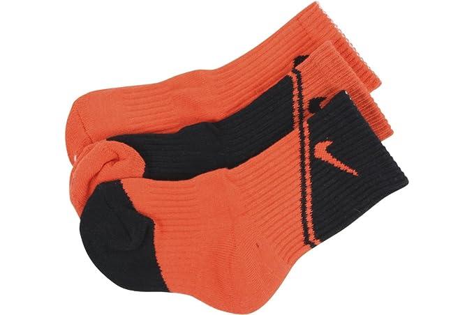 Nike Boy s 3-Pair Graphic Logo Max Naranja Crew Calcetines de deporte -
