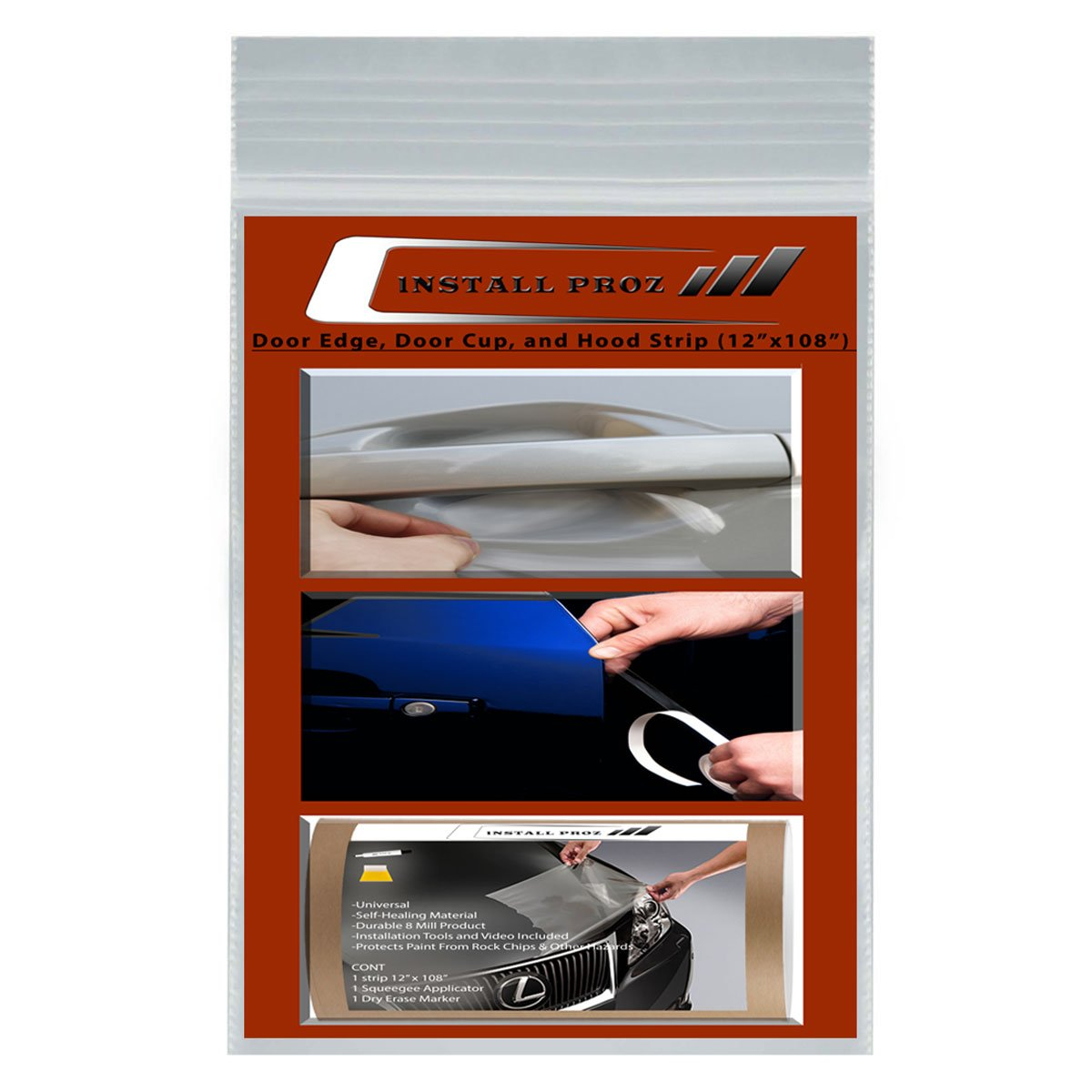 Install Proz Self-Healing Clear Paint Protection Film Kits (Bundle 12''x108'' Hood Strip, Door Edge, Door Cup) by Install Proz (Image #1)