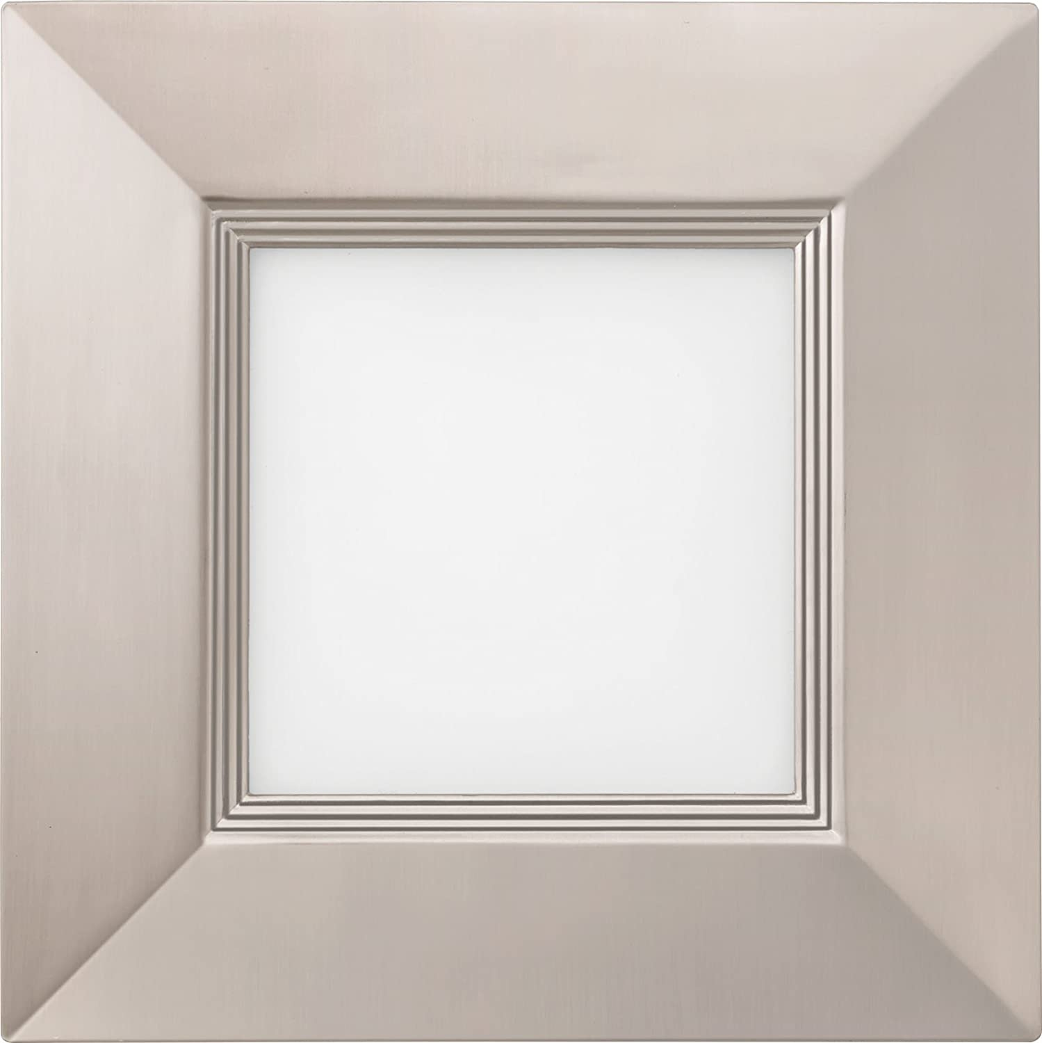 Lithonia Lighting B WF4 SQ B LED 27K BN M6 2700K 10.4W Ultra Thin Square Dimmable Recessed Ceiling Light with Baffle Trim, 4, Brushed Nickel 4