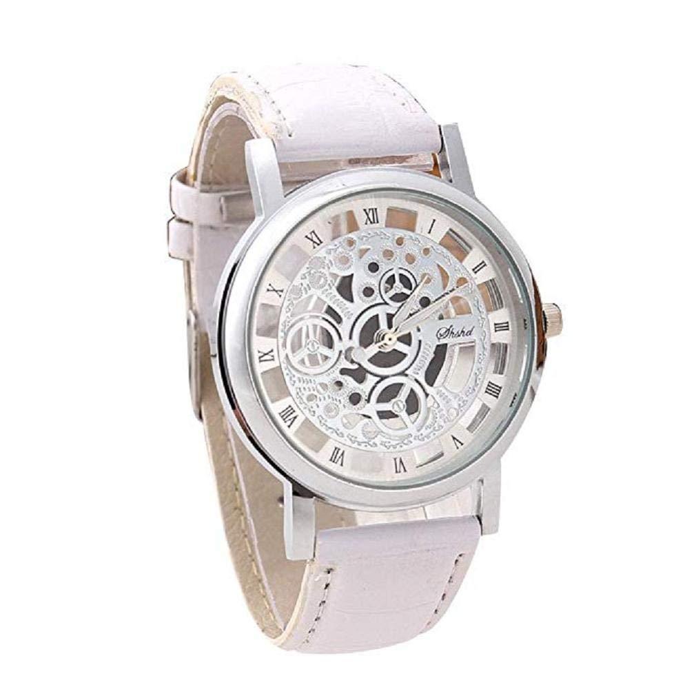 ¡Promoción Reloj de Cuarzo analógico para Hombres en Oferta Liquidación Reloj de Cuero Relojes Relojes de Pulsera para Hombres (Azul Blanco): Amazon.es: ...