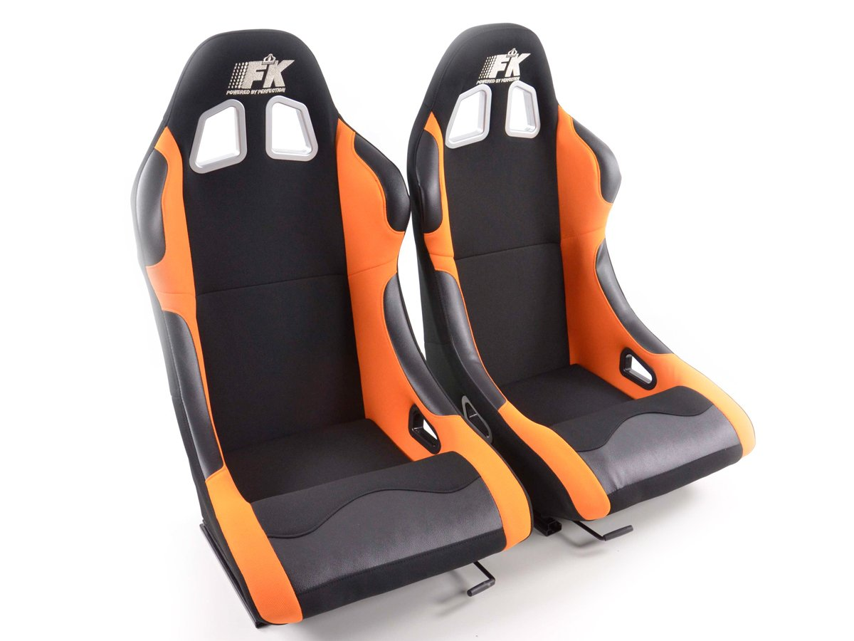 FK-Automotive Los Angeles Set de siè ges sport en tissu noir/orange