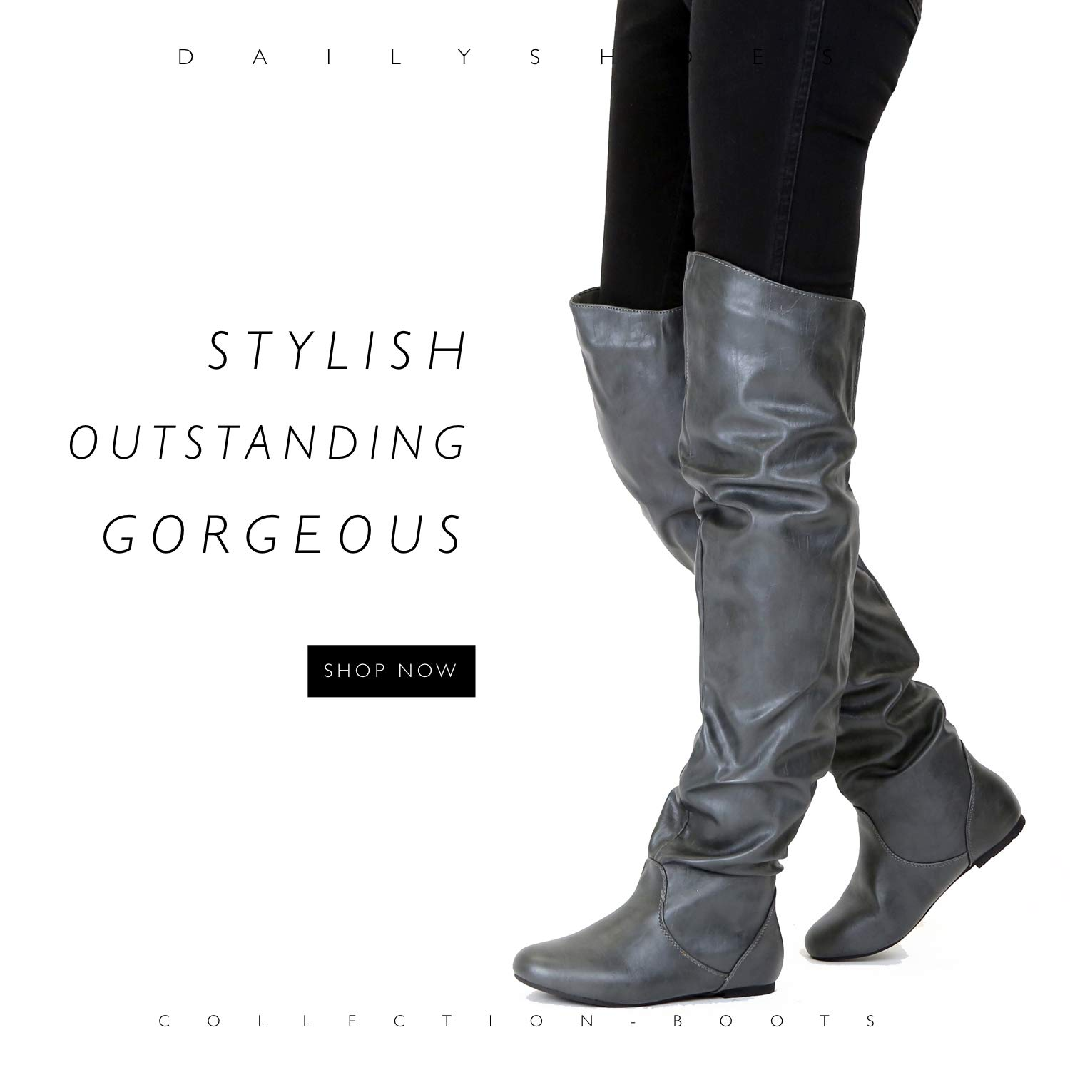 733388f3ba8 Amazon.com | DailyShoes Women's Fashion-Hi Over-The-Knee Thigh High Flat  Slouchly Shaft Low Heel Boots | Over-the-Knee