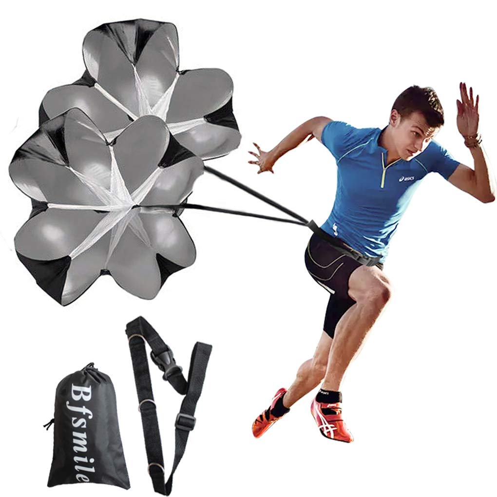 Bfsmile Running Speed Training 56 inch Parachute. Speed Chute for Weight Bearing Running and Fitness Core Strength…