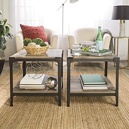 WE Furniture Angle Iron Wood End Tables in Grey