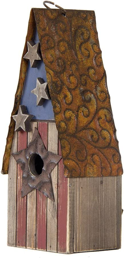 Glitzhome Wooden Hanging Patriotic USA Distressed Garden Bird House for Outdoors 12.4 Inch