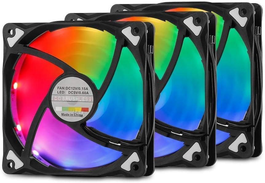 Adjustable Colorful Cooling Fan ARCHEER Computer Case Fan LED 120mm Cooling Case Fan Kit RGB Case Fan 3 Packs Reinforced Quiet Fan Blade Design