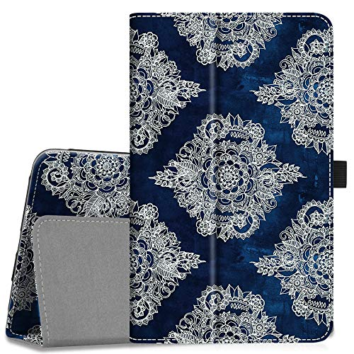 Fintie Folio Case for Samsung Galaxy Tab A 8.0 2018 Model SM-T387 Verizon/Sprint/T-Mobile/AT&T, Slim Fit Premium Vegan Leather Stand Cover, Indigo Dreams