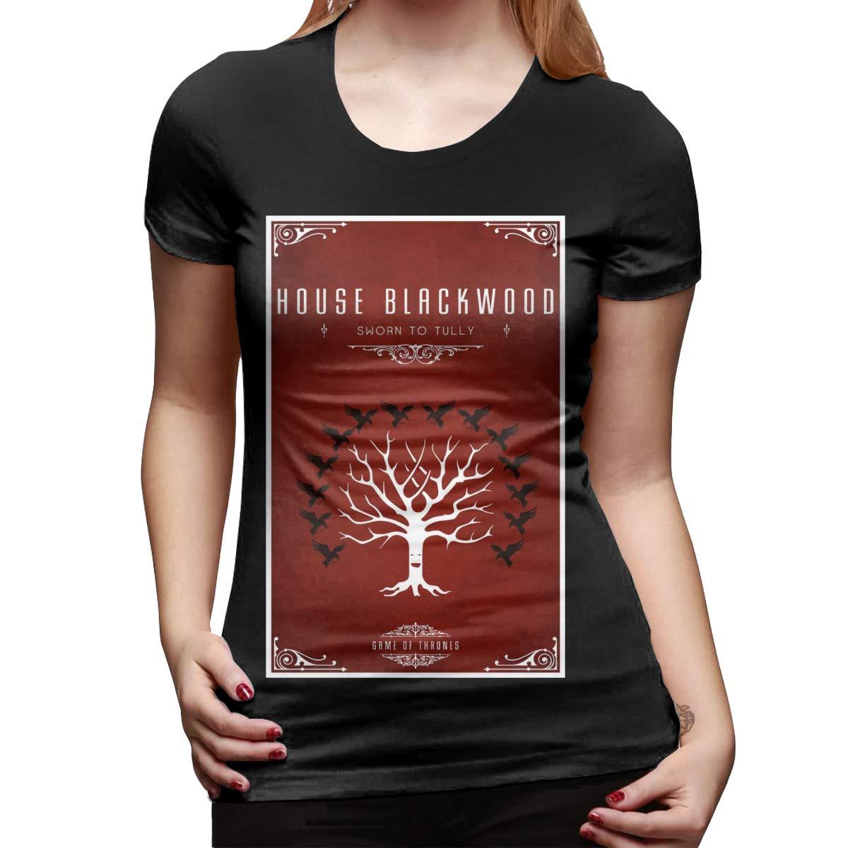 BYSKA Woman Personalized Tops Tees Game of Thrones Short Sleeve Fashion T Shirt Black