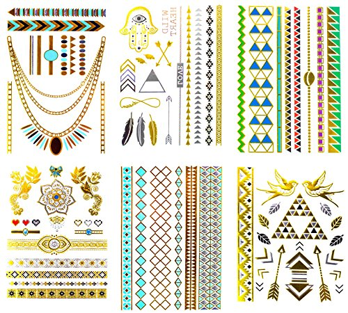 Nail Tattoos Temporary (Metallic Temporary Henna Tattoo, 70+ Waterproof Fake Shimmer Tattoos Stylish Designs Stickers for Body Art Gold and Silver for Parties, Festivals, Beaches and Weddings)