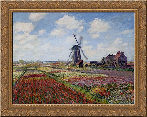 (Fields of Tulip With The Rijnsburg Windmill 24x20 Gold Ornate Wood Framed Canvas Art by Monet, Claude)
