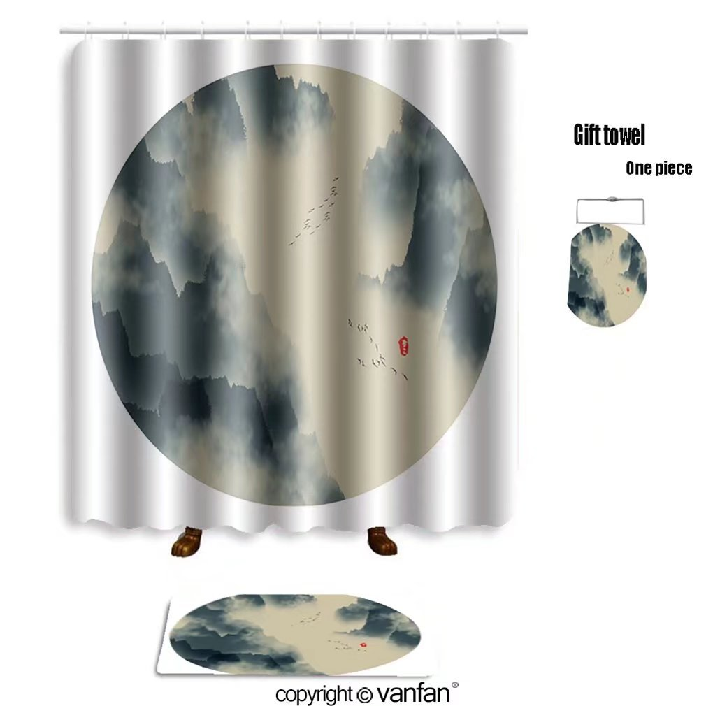 vanfan bath sets with Polyester rugs and shower curtain chinese ink landscape painting 556853653 shower curtains sets bathroom 69 x 72 inches&23.6 x 15.7 inches(Free 1 towel and 12 hooks)