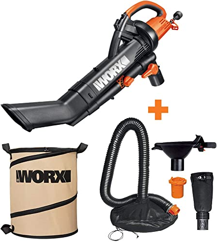WORX WG505 3-in-1 Blower Mulcher Vacuum w Universal Leaf Collection System Landscaping 26-Gallon Collapsible Yard Waste Bag