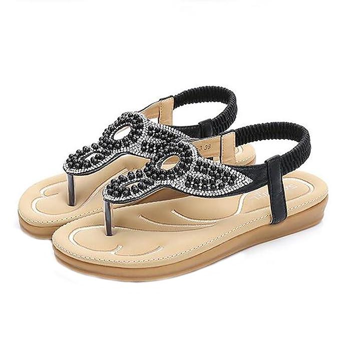 SHANGXIAN Sommer Strand Sandalen Fesselriemen Flip Flops Flache Schuhe , white , 37