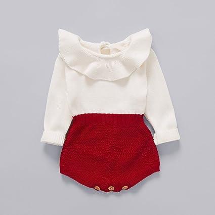 Zooarts bebé recién Nacido Niñas Blanco Rojo Manga Larga de Punto de una Pieza Halter Body