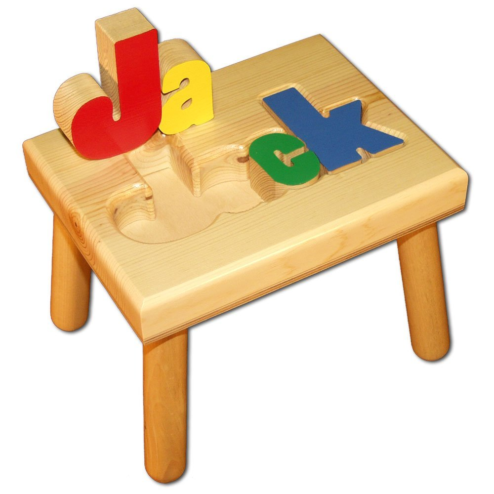 Damhorst Toys & Puzzles Personalized Wooden Child's Name Puzzle Stool Primary Colors by Damhorst Toys & Puzzles