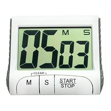 Temporizador digital para cocina portátil reloj de cuenta atrás digital pantalla LCD grande alarma para cocina cocina: Amazon.es: Hogar