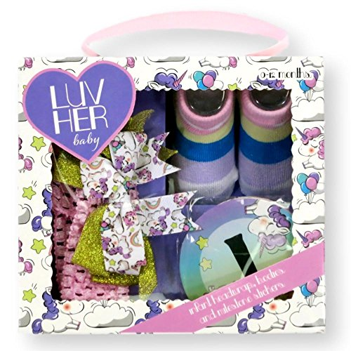 Luv Her Baby Newborn Infant Sock Bootle Monthly Milestone Stickers Headwrap Bows 0 to 12 Months by Luv Her Baby