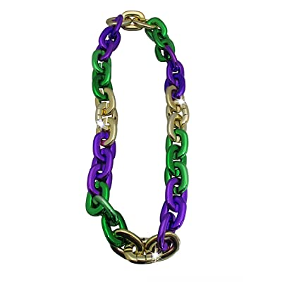 LED Light Up Big Chunky Chain Links Necklace, Gold/Purple/Green, One Size: Clothing