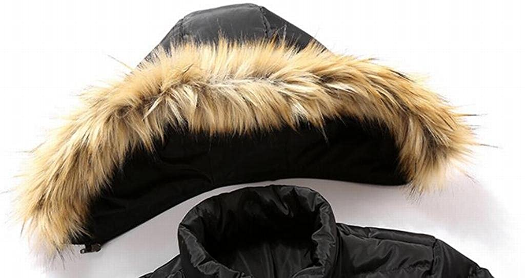 Suncolor8 Men Winter Faux Fur Hooded Long Quilted Puffer Jacket Coat Outerwear