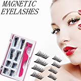 #5: Upgraded Long Magnetic Eyelashes Plus Tweezers, Full Size and Half Size in One Set, 0.2mm Ultra Thin Magnetic False Eyelashes, 3D Reusable Fake Lashes, Natural Look 2 Pairs / 8 Pieces