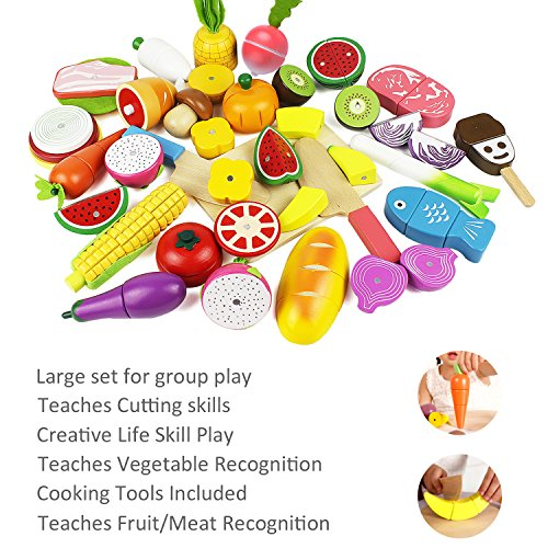 iPlay, iLearn Cutting Cooking Toy, Wooden Food, Pretend Play Kitchen Set, Wood Magnetic Fruit, Early Development Educational, Learning Gift For 2, 3, 4, 5, 6 Year Olds Kids, Toddler, Boys, Girls
