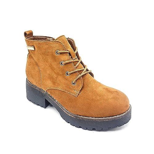 Cestfini Ladies Botines Medio Plataforma, Zapatos Cordones Moda para Mujer Khaki40: Amazon.es: Zapatos y complementos