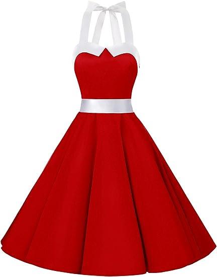 TALLA M. Dressystar Vestidos Corto Cuello Halter Estampado Flores y Lunares Vintage Retro Fiesta 50s 60s Rockabilly Mujer Solid Red