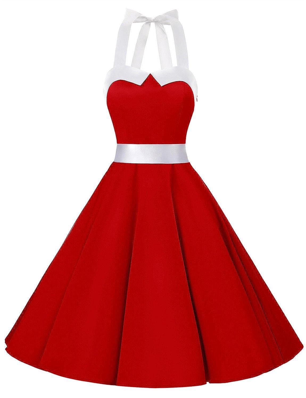 TALLA XS. Dressystar Vestidos Corto Cuello Halter Estampado Flores y Lunares Vintage Retro Fiesta 50s 60s Rockabilly Mujer Solid Red XS