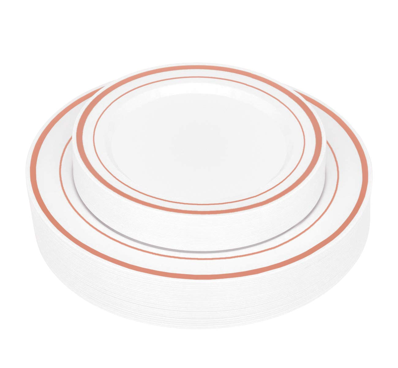 50-Piece Elegant Plastic Plates Set Service for 25 Disposable Plates Combo Include: 25 Dinner Plates & 25 Salad Plates for Weddings, Parties, Catering & Everyday Use (Rose Gold Rim) -Stock Your Home