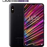 UMIDIGI F1 SIMフリースマートフォン Android 9.0 6.3インチ FHD+ 大画面 ノッチ付きディスプレイ 128GB ROM + 4GB RAM Helio P60オクタコア 5150mAh大容量バッテリー 18W高速充電 16MP+8MPデュアルリアカメラ 技適認証済み 顔認証 指紋認証 au不可 (ブラック)