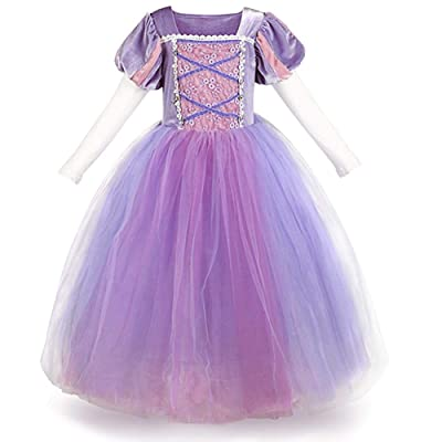 Girls Princess Rapunzel Dress Costume Fairy Tale Cosplay Fancy Dress Up Birthday Party Long Tulle Gown with Braided Wigs: Clothing