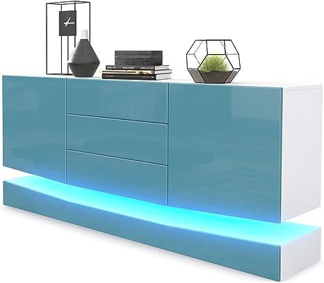 Korpus in Wei/ß matt//Fronten in Wei/ß Hochglanz inkl LED Beleuchtung Vladon Sideboard Kommode City