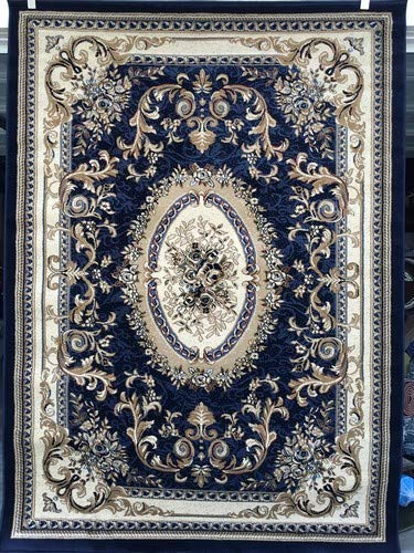 Deir Debwan Traditional Aubusson Persian 330,000 Point Floral Area Rug Dark Blue Burgundy Beige Ivory Design 602 (4 Feet X 5 Feet 9 Inch)