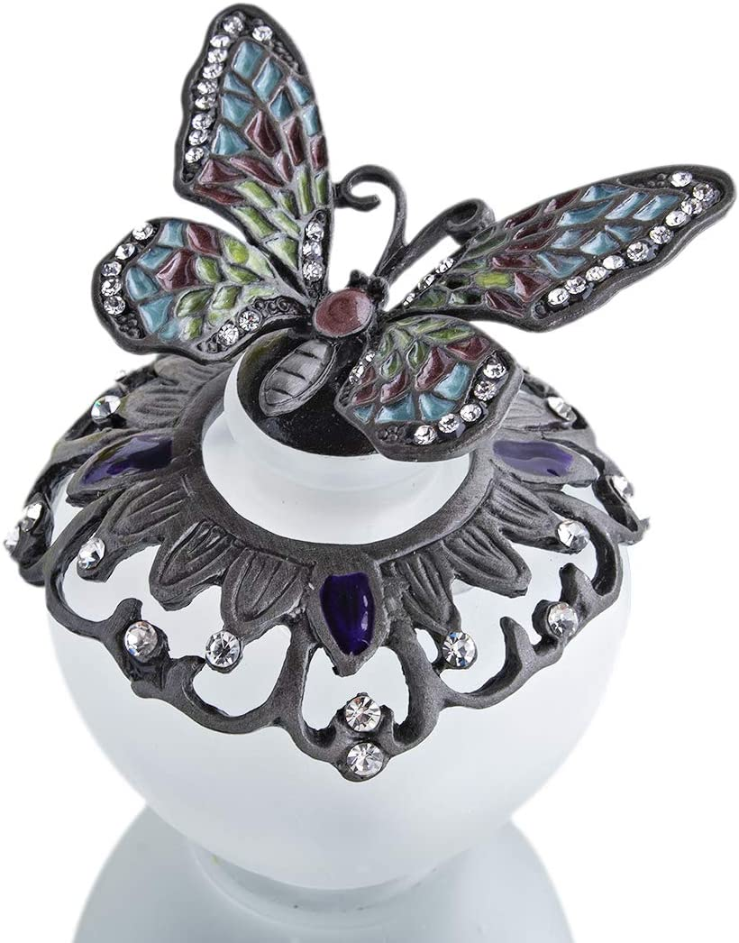 YU FENG Botella de perfume de cristal vintage con tapa de mariposa atornillable con cristal de cristal y bejeweled, botella decorativa recargable