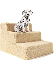 Lesgos Pet Steps Stairs for Dogs & Cats, Removable Washable 3 Steps Stairs Dog Cat Steps, Non-Slip Pet Ramp Ladder for Small, Medium Dogs and Cats for Bed, Sofa, Holds Up to 44lbs