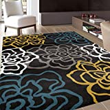 "Rugshop Contemporary Modern Floral Flowers Area Rug, 7' 10"" x 10' 2"", Yellow/Gray"